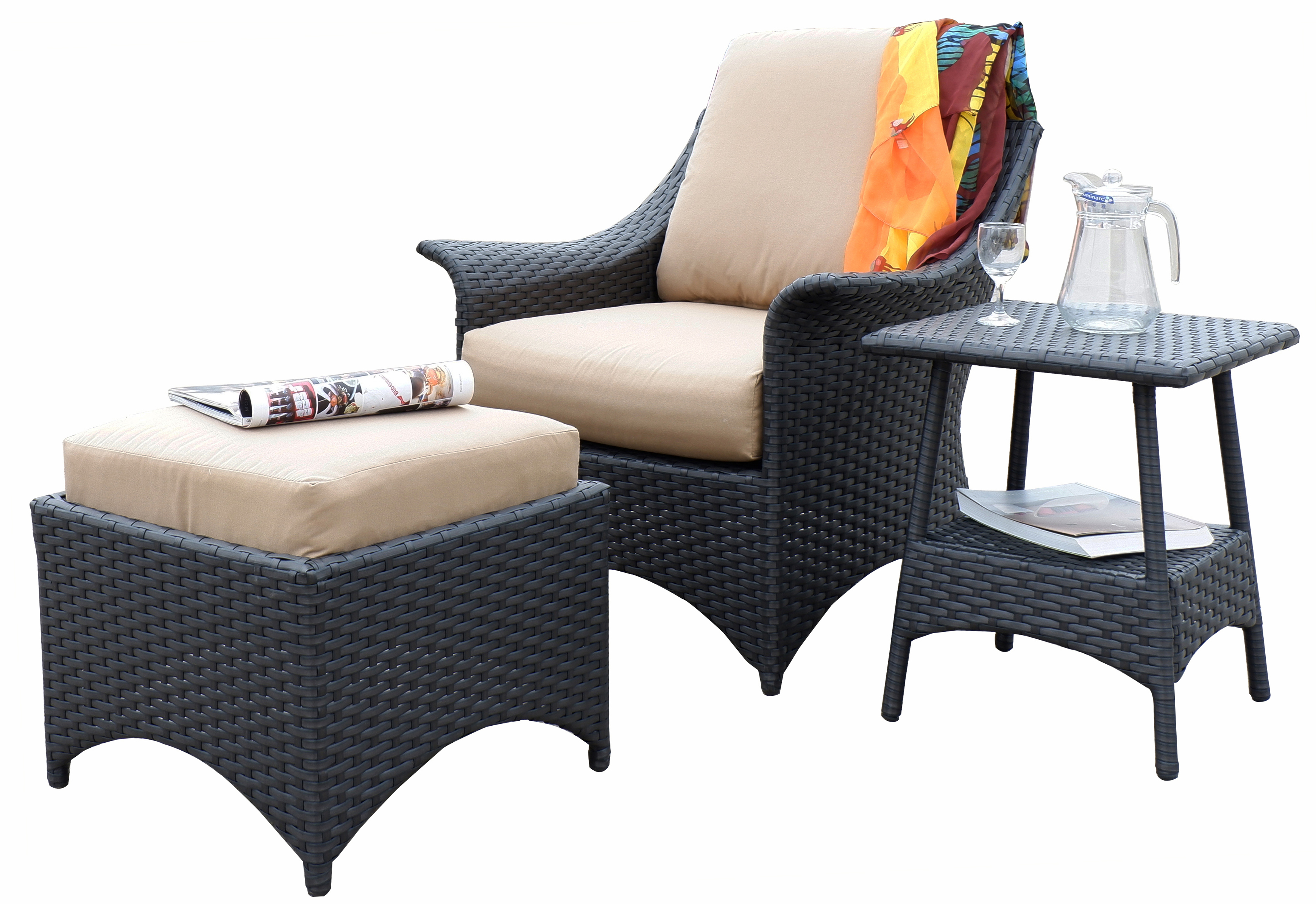 Arcadia 3 Piece Deep Seating Set Outdoor Patio Furniture Wicker Resin Rattan Club Chair Ottoman Side Table Waystock